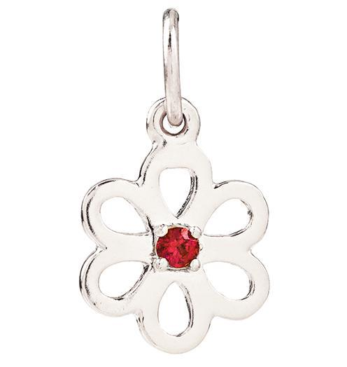 Birth Jewel Flower Charm With Ruby - 14k White Gold - Jewelry - Helen Ficalora - 2