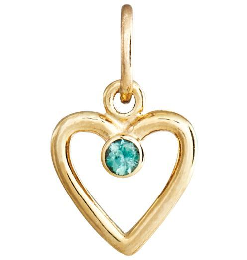 Birth Jewel Heart Charm With Alexandrite - 14k Yellow Gold - Jewelry - Helen Ficalora - 1