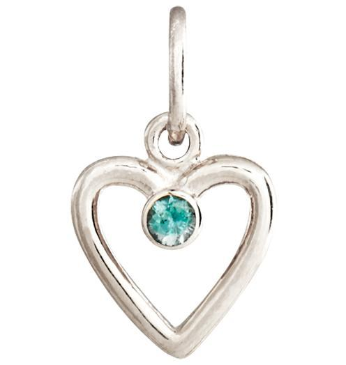 Birth Jewel Heart Charm With Alexandrite - 14k White Gold - Jewelry - Helen Ficalora - 2