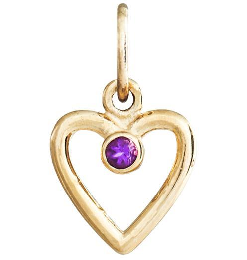 Birth Jewel Heart Charm With Amethyst - 14k Yellow Gold - Jewelry - Helen Ficalora - 1