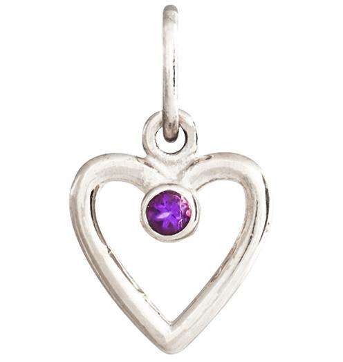 Birth Jewel Heart Charm With Amethyst - 14k White Gold - Jewelry - Helen Ficalora - 2