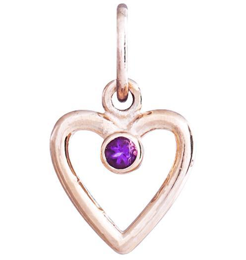 Birth Jewel Heart Charm With Amethyst - 14k Pink Gold - Jewelry - Helen Ficalora - 3
