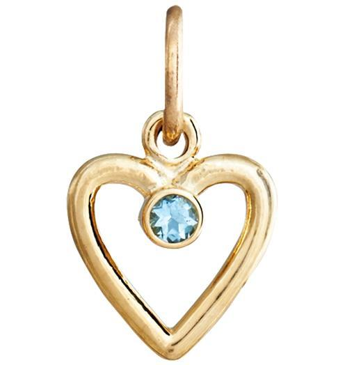 Birth Jewel Heart Charm With Aquamarine - 14k Yellow Gold - Jewelry - Helen Ficalora - 1