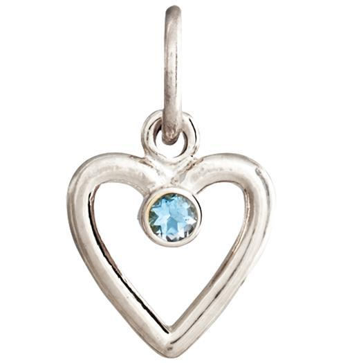 Birth Jewel Heart Charm With Aquamarine - 14k White Gold - Jewelry - Helen Ficalora - 2