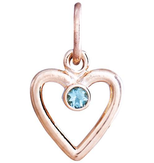 Birth Jewel Heart Charm With Aquamarine - 14k Pink Gold - Jewelry - Helen Ficalora - 3