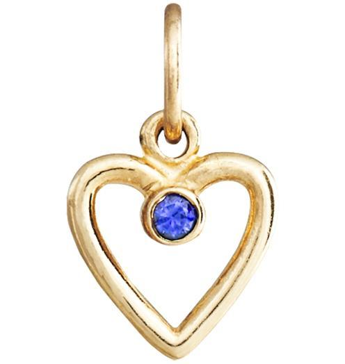 Birth Jewel Heart Charm With Blue Sapphire - 14k Yellow Gold - Jewelry - Helen Ficalora - 1
