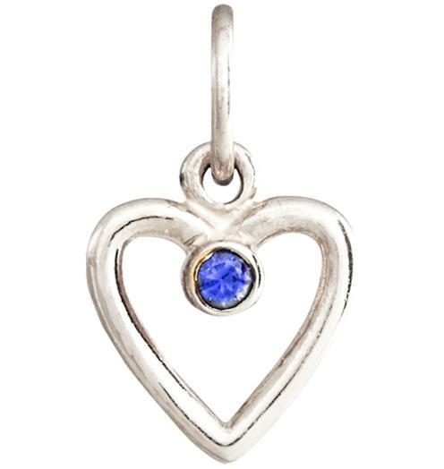 Birth Jewel Heart Charm With Blue Sapphire - 14k White Gold - Jewelry - Helen Ficalora - 2