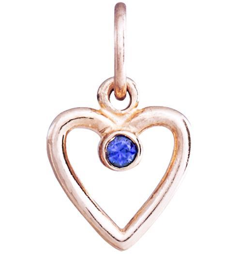 Birth Jewel Heart Charm With Blue Sapphire - 14k Pink Gold - Jewelry - Helen Ficalora - 3