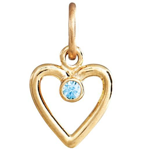 Birth Jewel Heart Charm With Blue Zircon - 14k Yellow Gold - Jewelry - Helen Ficalora - 1