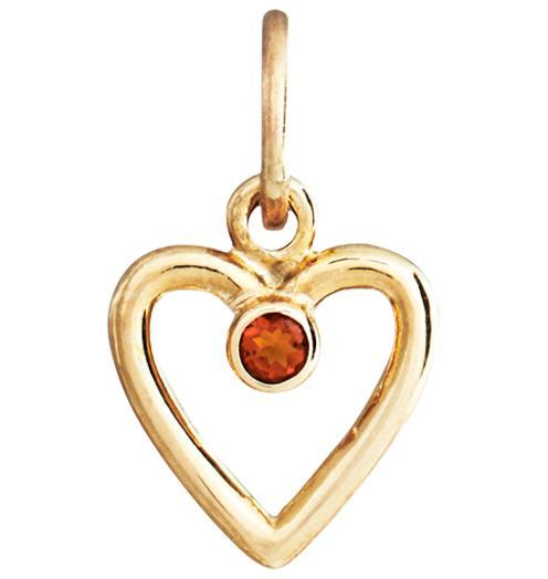 Birth Jewel Heart Charm With Citrine - 14k Yellow Gold - Jewelry - Helen Ficalora - 1