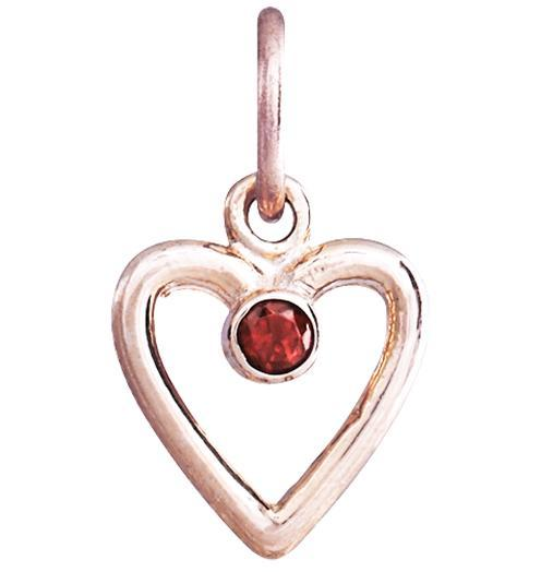 Birth Jewel Heart Charm With Citrine - 14k Pink Gold - Jewelry - Helen Ficalora - 3