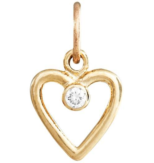 Birth Jewel Heart Charm With Diamond - 14k Yellow Gold - Jewelry - Helen Ficalora - 1
