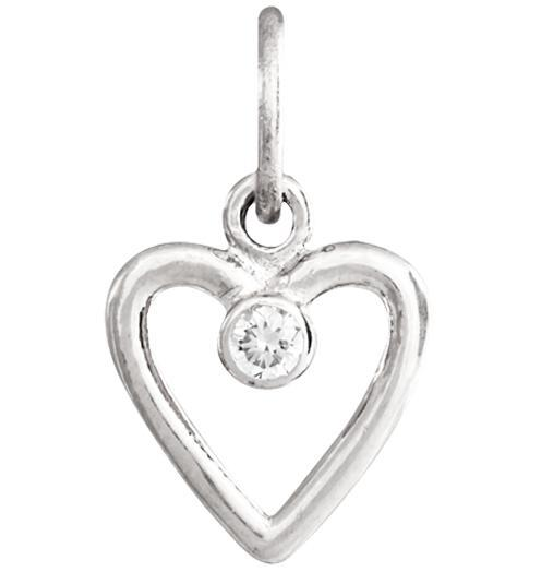 Birth Jewel Heart Charm With Diamond - 14k White Gold - Jewelry - Helen Ficalora - 2