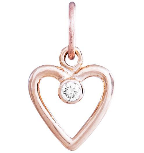 Birth Jewel Heart Charm With Diamond - 14k Pink Gold - Jewelry - Helen Ficalora - 3