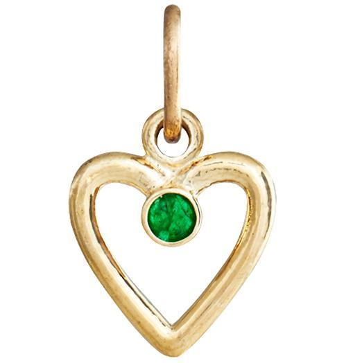 Birth Jewel Heart Charm With Emerald - 14k Yellow Gold - Jewelry - Helen Ficalora - 1