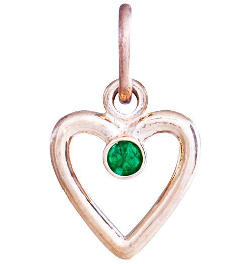 Birth Jewel Heart Charm With Emerald - 14k Pink Gold - Jewelry - Helen Ficalora - 3