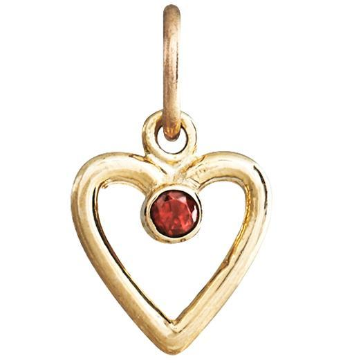Birth Jewel Heart Charm With Garnet - 14k Yellow Gold - Jewelry - Helen Ficalora - 1