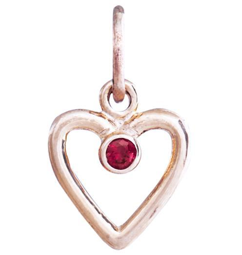 Birth Jewel Heart Charm With Garnet - 14k Pink Gold - Jewelry - Helen Ficalora - 3