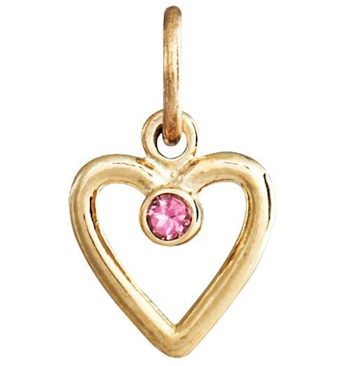 Birth Jewel Heart Charm With Pink Tourmaline - 14k Yellow Gold - Jewelry - Helen Ficalora - 1