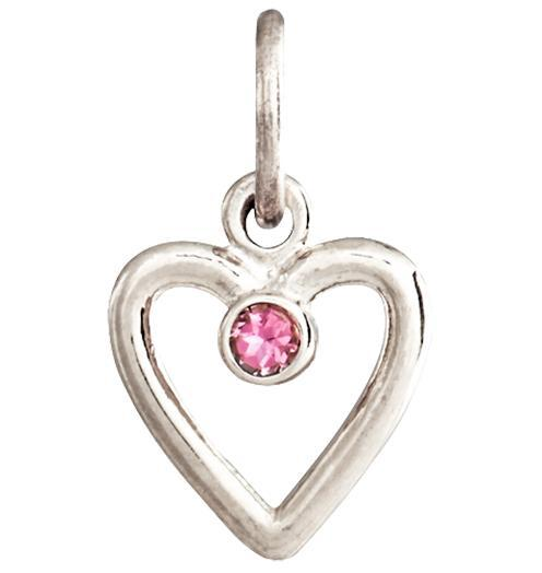 Birth Jewel Heart Charm With Pink Tourmaline - 14k White Gold - Jewelry - Helen Ficalora - 2