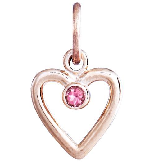 Birth Jewel Heart Charm With Pink Tourmaline - 14k Pink Gold - Jewelry - Helen Ficalora - 3