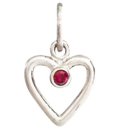 Birth Jewel Heart Charm With Ruby - 14k White Gold - Jewelry - Helen Ficalora - 2