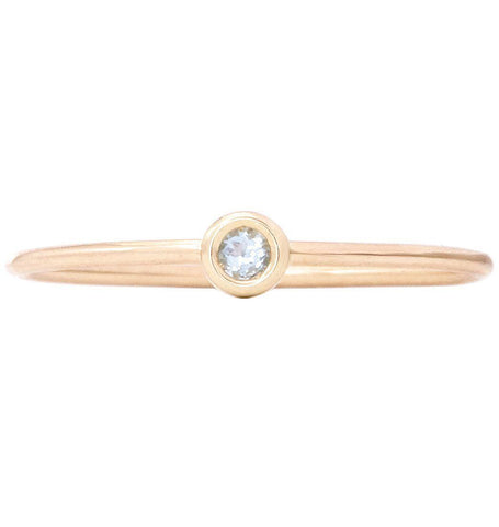 Birth Jewel Stacking Ring With Aquamarine Jewelry Helen Ficalora 14k Yellow Gold 5