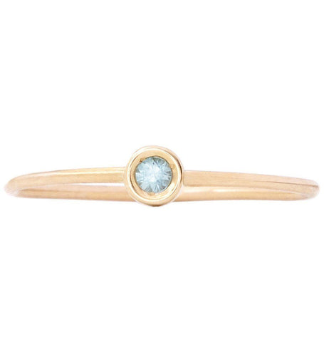 Birth Jewel Stacking Ring With Blue Zircon Jewelry Helen Ficalora 14k Yellow Gold 5