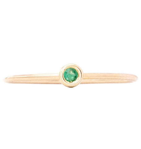 Birth Jewel Stacking Ring With Emerald Jewelry Helen Ficalora 14k Yellow Gold 5
