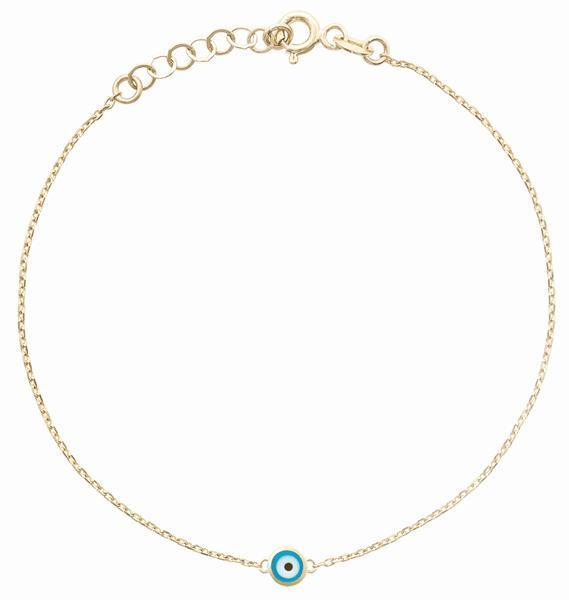Bracelet With 1 Evil Eye Jewelry Helen Ficalora 14k Yellow Gold
