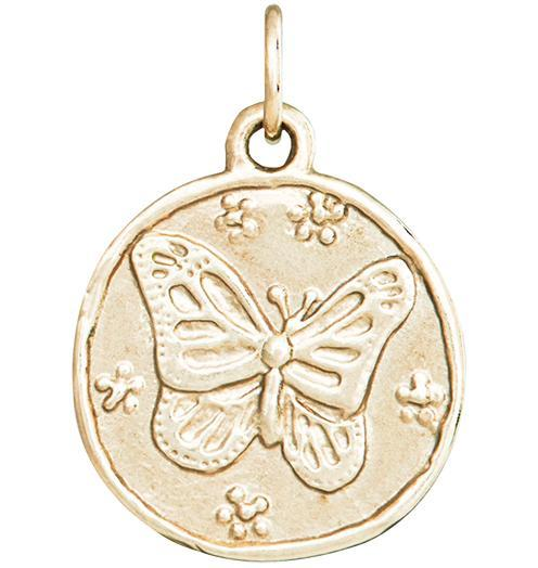 Butterfly Coin Charm - 14k Yellow Gold - Jewelry - Helen Ficalora - 1