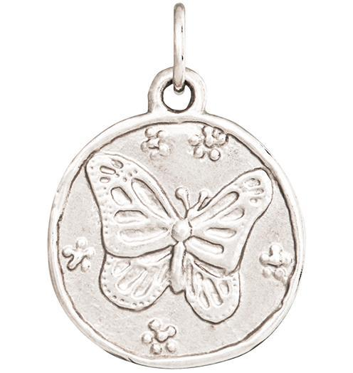 Butterfly Coin Charm - 14k White Gold - Jewelry - Helen Ficalora - 2