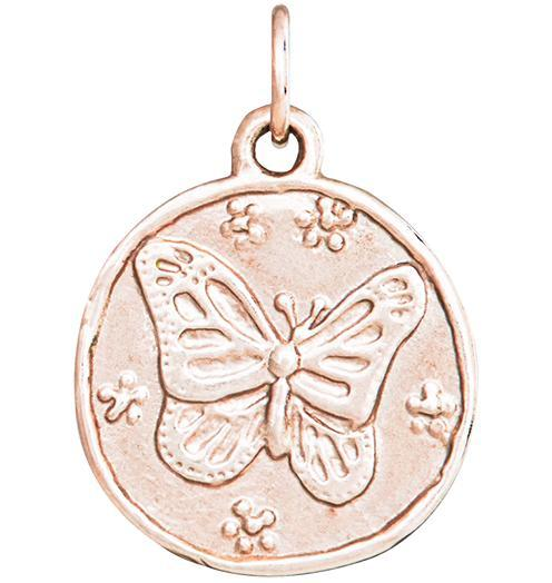 Butterfly Coin Charm - 14k Pink Gold - Jewelry - Helen Ficalora - 3