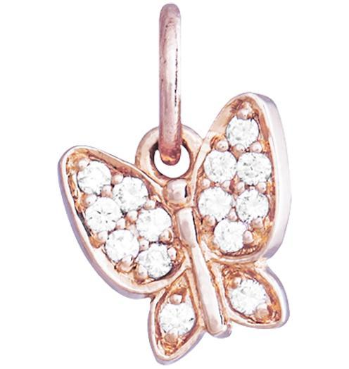 Butterfly Mini Charm Pave Diamonds - 14k Pink Gold - Jewelry - Helen Ficalora - 3