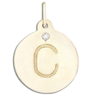 """C"" Alphabet Charm 14k Yellow Gold With Diamond Jewelry For Necklaces And Bracelets From Helen Ficalora Every Letter And Initial Available"