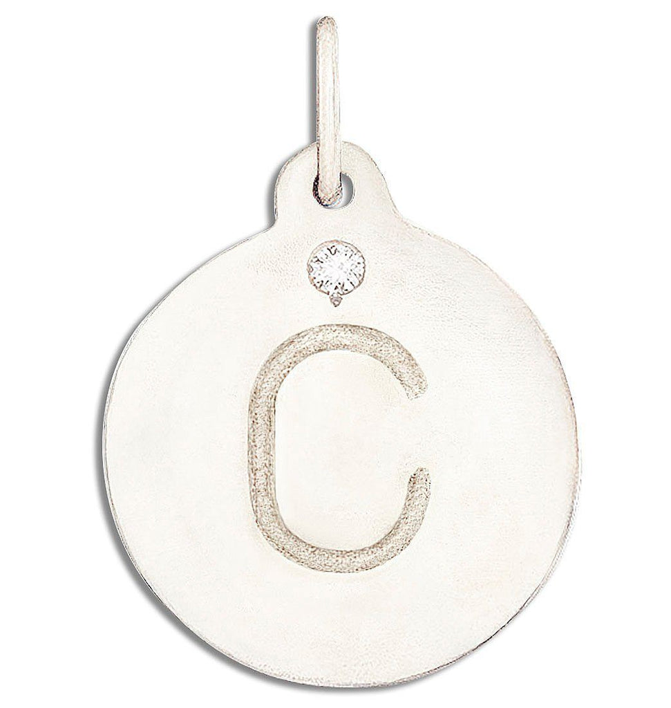 """C"" Alphabet Charm With Diamond Jewelry Helen Ficalora 14k White Gold"