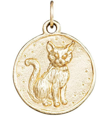 Cat Coin Charm - 14k Yellow Gold - Jewelry - Helen Ficalora - 1