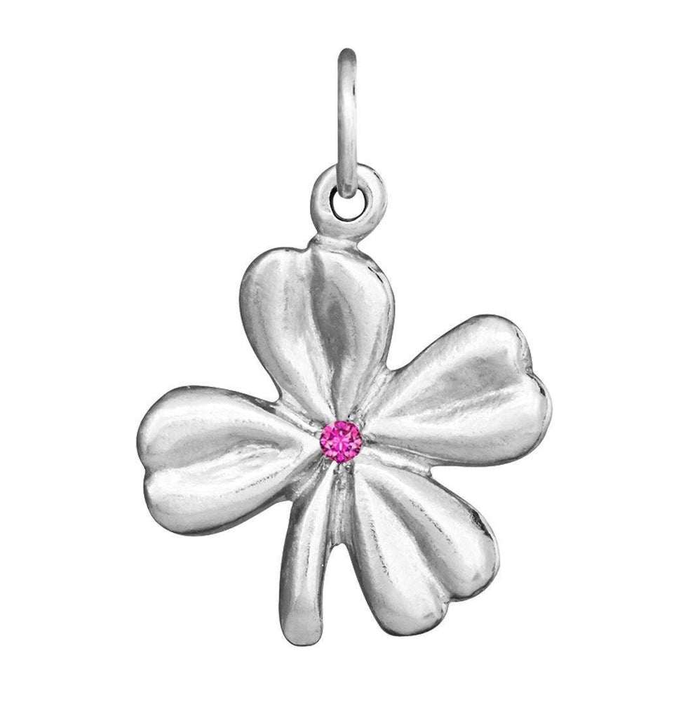 Clover Flower Charm With Pink Sapphire Jewelry Helen Ficalora Sterling Silver