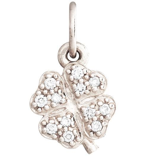 Clover Mini Charm Pave Diamonds - 14k White Gold - Jewelry - Helen Ficalora - 2