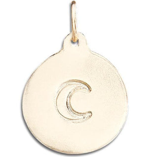 Crescent Moon Disk Charm Jewelry Helen Ficalora 14k Yellow Gold
