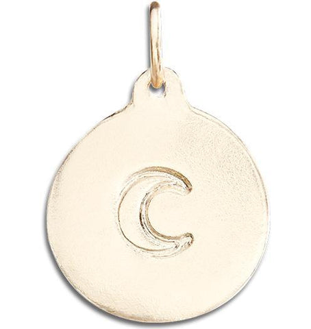 Crescent Moon Disk Charm - 14k Yellow Gold - Jewelry - Helen Ficalora - 1
