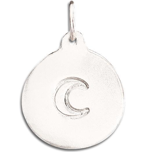 Crescent Moon Disk Charm - 14k White Gold - Jewelry - Helen Ficalora - 2
