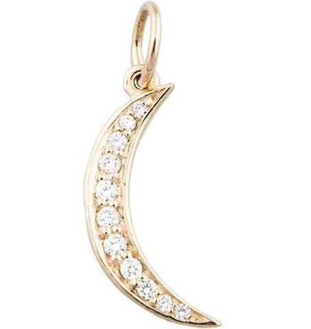 Crescent Moon Mini Charm Pavé Diamonds Jewelry Helen Ficalora 14k Yellow Gold For Necklaces And Bracelets
