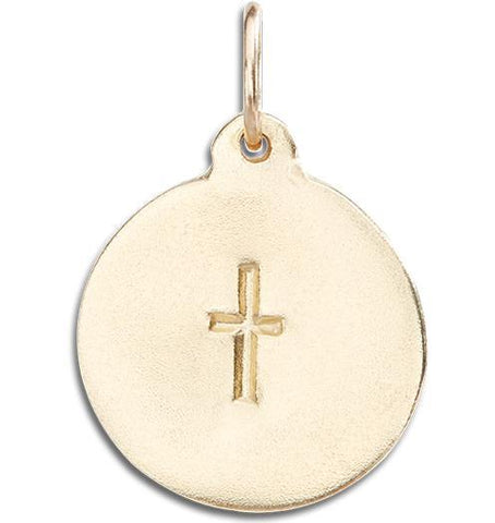 Cross Disk Charm - 14k Yellow Gold - Jewelry - Helen Ficalora - 1