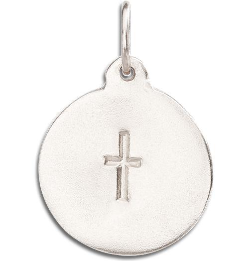 Cross Disk Charm - 14k White Gold - Jewelry - Helen Ficalora - 2