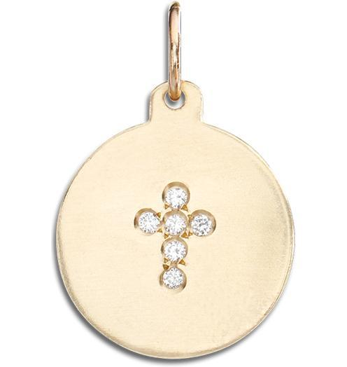 Cross Disk Charm Pave Diamonds - 14k Yellow Gold - Jewelry - Helen Ficalora - 1