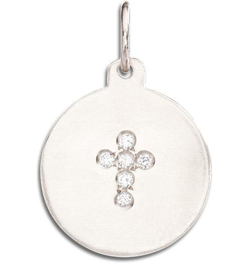 Cross Disk Charm Pave Diamonds - 14k White Gold - Jewelry - Helen Ficalora - 3