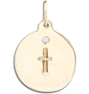 Cross Disk Charm With Diamond Jewelry Helen Ficalora 14k Yellow Gold For Necklaces And Bracelets