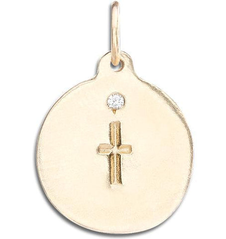Cross Disk Charm With Diamond - 14k Yellow Gold - Jewelry - Helen Ficalora - 1