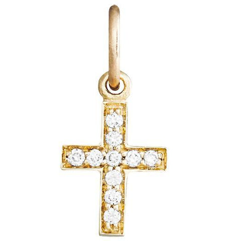 Cross Mini Charm Pavé Diamonds Jewelry Helen Ficalora 14k Yellow Gold